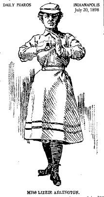 Miss Lizzie Arlington, basebaall pitcher. Picture from the Indianapolis Daily Pharos, July 20, 1898