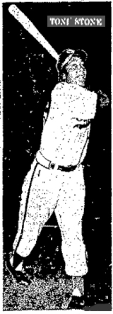 Picture of Toni Stone swinging a bat as a member of the Indianapolis Clowns from The Salina Journal, Salina, Kansas, August 6, 1953.