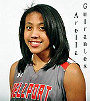 Image of Arella Guirantes in Bellport uniform, red on gray, for the Bellport High School (Long Island, New York) girls basketball team 2015.