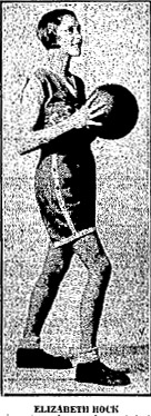 Picture of Elizabetth Hock, Green Township High (Ohio) basketball center, from The Portsmouth Sunday Times, May 3, 1931. Hock scored 50 pts. against Rardin on 12/14/1930, 488 points in 1930-31 season & 1,286 pts. in career.