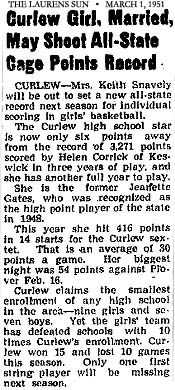 Article from The Laurens Sun, Laurens, Iowa, March 1, 1951, titles, Curlew Girl, Married, May Sheet All-State Cage Points Record. Article is about how Mrs, Keith Snavely, the former Jeanette Gates, was about to break the season scoring record, and had hit for 54 in one game.