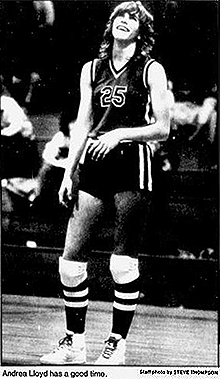 Action photo of Andrea Lloyd, Moscow High School Bear basketball player, smiling. From The Spokane Chronicle, January 27, 1983. Staff photo by Steve Thompson.