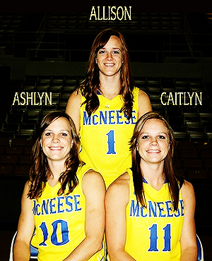 The Baggett sisters, seniors, twins Ashlyn (#10) & Caitlyn (#11), and sister and freshman Allison, posing in McNeese State yellow uniforms with blue lettering.