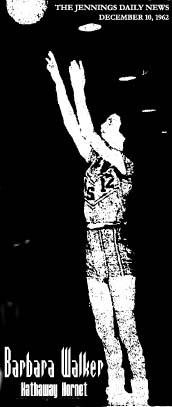 Image of Barbara walker, Hathaway High Hornet basketball player, shown taking a jump shot. From The Jennings Daily News, December 10, 1962 (Louisiana).