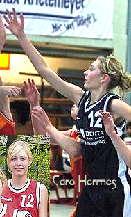 Images of TV Werne U-16 female basketball player Caro Hermes, number 12, trying to contest a shot in a March 2009 game against Bochum, and portrait in uniform.