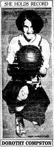 Picture of Dorothy Compston, Warwick High (Rhode Island) basketball player, from Salamanca Republican-Press, February 7, 1927.