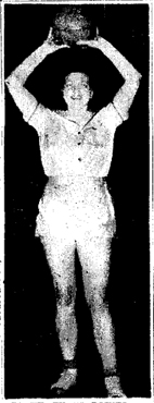 Picture of Edith Barnette, graduate of Wheelersburg High School in Ohio, played afterwards in the City of Charleston Recreation Basketball League; for Dawes in 1949, for the Parkettes in 1950, and other local independent teams in subsequent years. Picture from the February 26, 1950 Charleston Gazette.