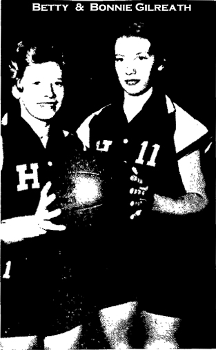 Picture of twins Betty and Bonnie Gilreath, basketball stars at Hiddenite High in North Carolina. From the Statesville Record and Landmark, November 27, 1954.