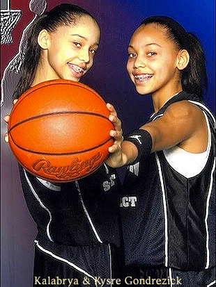Sisters Kalabrya and Kysre Gondrezick, Benton Harbor (Michigan) basketball players, posing with ball.