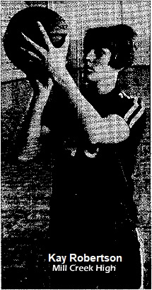 Picture of 5-foot, 8-inch, Kay Roberson, All-America high school basketball player from Mill Creek High, Oklahoma. Uncredited picture from The Ada Evening News, March 6, 1968
