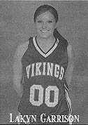 Image of Lakyn Garrison, Carl Albert State College basketball player, in uniform number 00 with Vikings along front of jersey. From the Heavener Ledger, February 5, 2009, Heavener, Oklahoma.