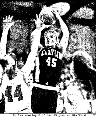 Picture of Claflin High basketball player Jackie Stiles, scoring 2 of her 55 points in game against Stafford High. From The Post-Standard, Syracue, NY, 2/20/1997. (AP)