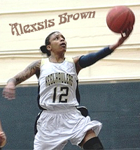 Image of Alexsis Brown, Cal Maritime Keelhauler female basketball player going up for a lay-up.