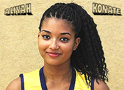 Aliyah Konate portrait, very top straps of yellow uniform of the U17 ALBA Berlin basketball team.