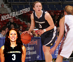Composite image of Nicole Ballestero, Vanguard University basketball player, #3, with ball upcourt looking tod rive or pass, plus frontal portrait.