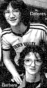 Poto from New York Times microfilm, Dolores (top) and Barbara (bottom) Bootz, Marlboro High School (New York) basketball sisters in Golden Valley uniforms. Photo: Suzanne DeChillio, New York Times, March 22, 1983.