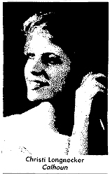 Christi Longnecker, Calhoun High (Illinois) basketball player, 1985-86. From The Alton Telegraph, June 7, 1986.