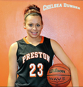 Pirtrait of Chelsea Dimgee, Preston High School (Oklahoma) portrait on Preston uniform, number 23, with basketball.