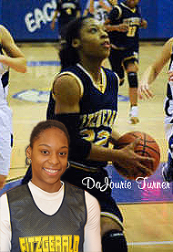 Imafes of DaJourie Turner, Fitsgerald Spartan basketball player (Warren, Michigan), bot portrait and action shot, hoing up for a shot.