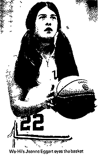 Picture of Jeanne Eggart, Walla Walla High School basketball player, shooting a foul shot. From the Walla Wa;;a Union Bulletin, Feb. 2, 1977, after being named Inland Empire Woman Athlete of the Year for 1977. Photo from Dennis Dimick.