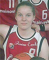 Image of Janina Ernst, U15 basketball player for TSV Sch�nau, with basketball. Cropped from team photo.