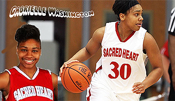 Composite image of girls basketball player, Gabrielle Washington of Sacred Heart University, #30, looking to bring ball upcourt, and portrait in red uniform.