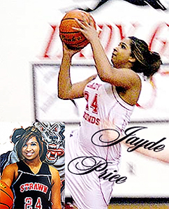 Jayde Price, Strawn High School (Texas) Lady Greyhound basketball player, in composite photo. Shooting and posing with ball.