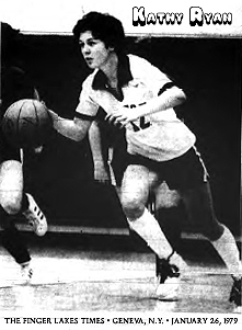 Image of Kathy Ryan, Victor High School basketball player, dribbling the ball upcourt. From The Finger Lakes Times, Geneva, New York, January 26, 1979.