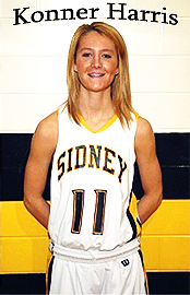 Konner Harris, in Sidney High School (Ohio) basketball uniform #11.