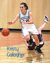 Kristy Gallagher, number 12, Parkland Panther (Victoria, Vancouver Island) basketball player, driving upcourt in the Totem Tournament at Alberni.