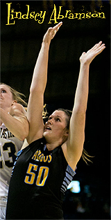 Lindsey Abramson, University of Great Falls Argonaut basketball player, number 50, shown defending against Montana State.