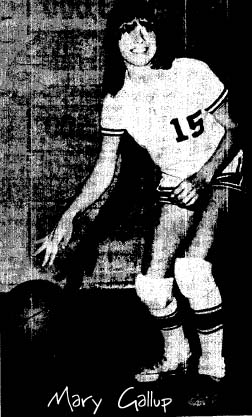 Image of Mary Gallup. Stratford High (Oklahoma) basketball player, dribbling the ball, from The Ada Evening News, March 24, 1974.