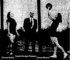 Posed picture of Norma Smith (left) and Grace Kneece (right) and coach George Thomas, of the Monetta High girls basketball team. From The Aiken Standard, Aiken, South Carolina, February 15, 1987.