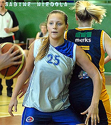 Sabine Niedola, Liepajas number 25, in action, guarding the ball carrier.
