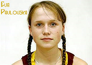 Eva Pavlovska, Ventspils basketball player, Latvia LJBL, in uniform, with pigtails.