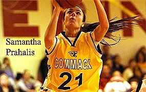 Samantha Pahalis, Sf. Gheorghe (Greece A1 Professional Basketball League) basketball player, number 21, shooting the ball.