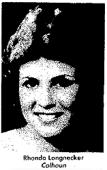 Rhonda Longnecker, Calhoun High (Illinois) basketball player, 1985-86. From The Alton Telegraph, June 7, 1986.