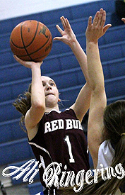 Ali Ringering, Red Bud High School (Illinois), number 1 uniform, shooting a jump shot. From STLtoday.com .