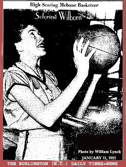 Image of Sclorine Wilborn, Mebane High basketball player, shooting basketball. From The Burlington )North Carolina) Daily Times-News, January 11, 1951. Photo by William Lynch.