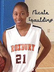 Nicole Spaulding, Roxbury Community College basketball player, number 21, in uniform.