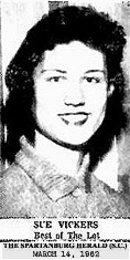 Image of a smiling Sue Vickers, basketball player for the Slater entry in the Southern Textile Basketball Tournament at Greenville, South Carolina, Class A girls division. From The Spartanburg Herald, Sunday, March 14, 1962. (South Carolina)