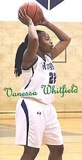 Image of Vanessa Whitfield, Wilson College basketball player, in action shot (number 22), looking to pass the ball.