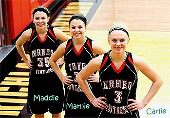 Wagner sisters, NRHEG Panthers girls baskeyball team (Minnesota). Maddie #35, Marnie #31, Carlie #3.