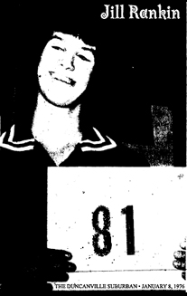 Jill Rankin, Phillips High School Blackhawks basketball star, after scoring 81 points in one game. Holding a sign saying 81. From The Duncanville Suburban (Texas) January 8, 1976.
