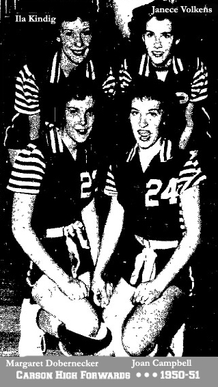 January 1951 newspaper photo of the Carson High School basketball  team's four forwards, Margaret Dobernecker, Joan Campbell, in front, Ila Kindig and Janece Volkens in rear of picture; 6-on-6 Iowa basketball.