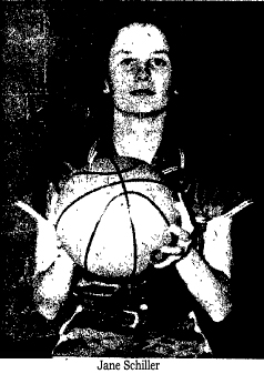Picture of Jane Schiler, Wicomico High School Indian basketball player who scored 52 pts. in a game against Stephen Decatur High, on January 31, 1956.