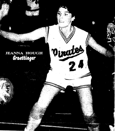 Uncredited photo from The Report, Emmetsburg, Iowa, 2/20/1990. Game shot from District Final, at Spencer, Feb. 17, 1990, won by Graettinger Pirettes, 89 to 84 over the Terril High Tigers. Jeanna Hough scored 29 points in this game
