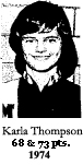 Picture of Karla Thompson, Maxwell High school 6-on-6 (Iowa) basketball player who scored 68 and 73 points in two games in 1974.
