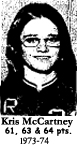Picture of Kris McCartney, who scored 61, 63 and 64 points in 3 game during the 1973-74 season (Iowa 6-on-six girls' basketball) for Radcliffe High School.