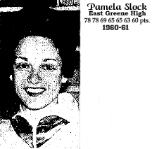 Image of Pamela Slock, Iowa 6-on-6 basketball player on the East Greene of Grand Junction high school sextet. In the 1960-61 season, Pam Slock had high game of 78, 78, 69, 65, 65, 63 and 60 points and she averaged 45.9 points per game on the year.
